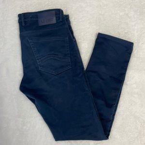 Armani Jeans Very Dark Blue Wash Zipper Plaid